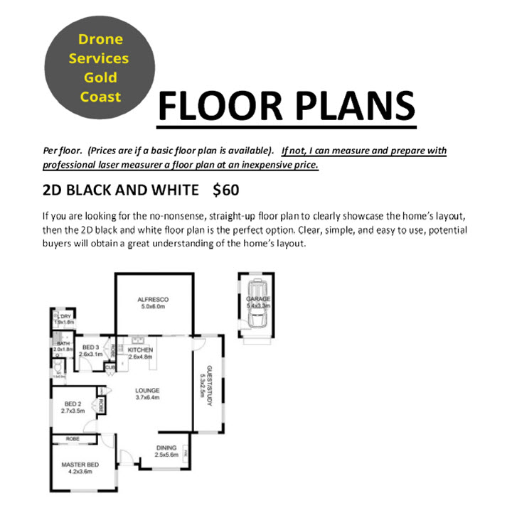 Floor Plans By Drone Services Gold Coast Black and White